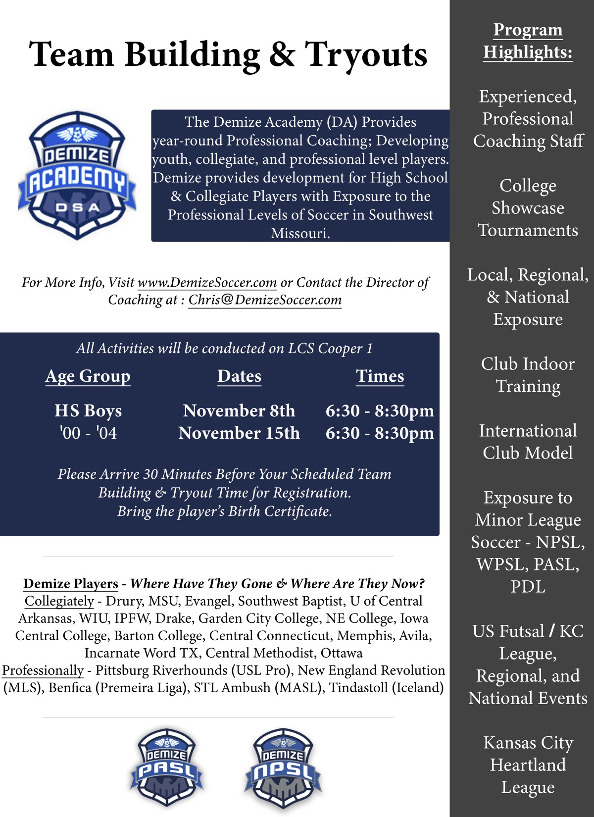 2018 High School Boys Team Building and Tryouts