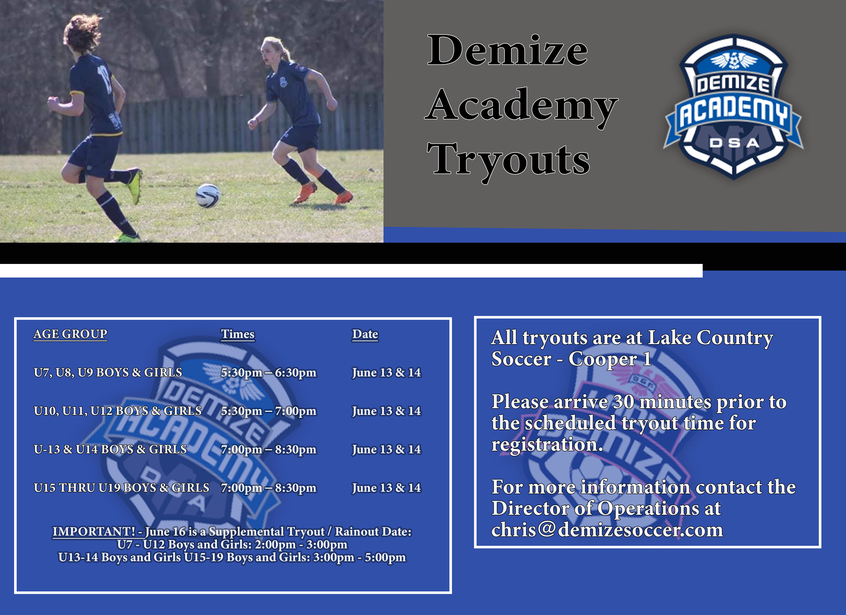 Demize Academy tryout dates and times in June