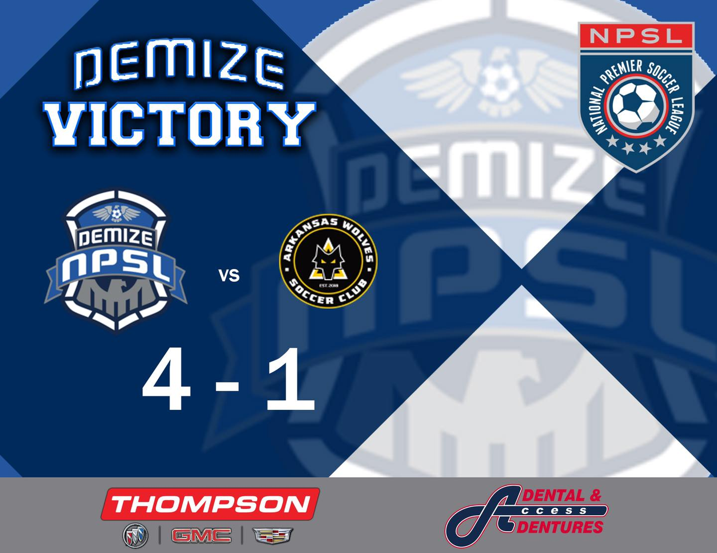 Demize win home opener in convincing fashion 4-1 over the Arkansas Wolves