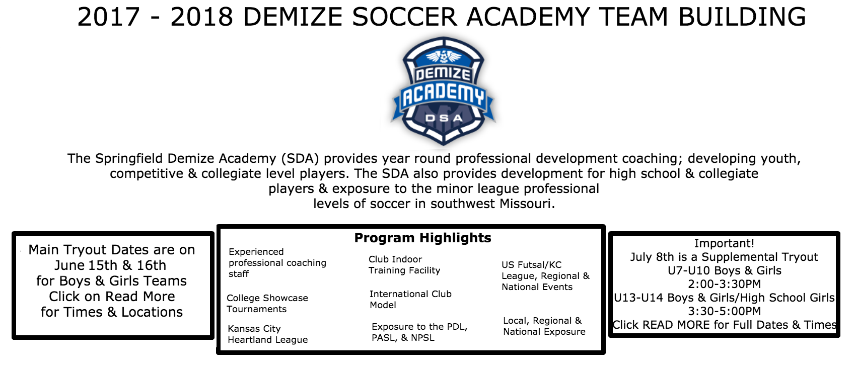 Demize Youth Academy Tryouts Announced