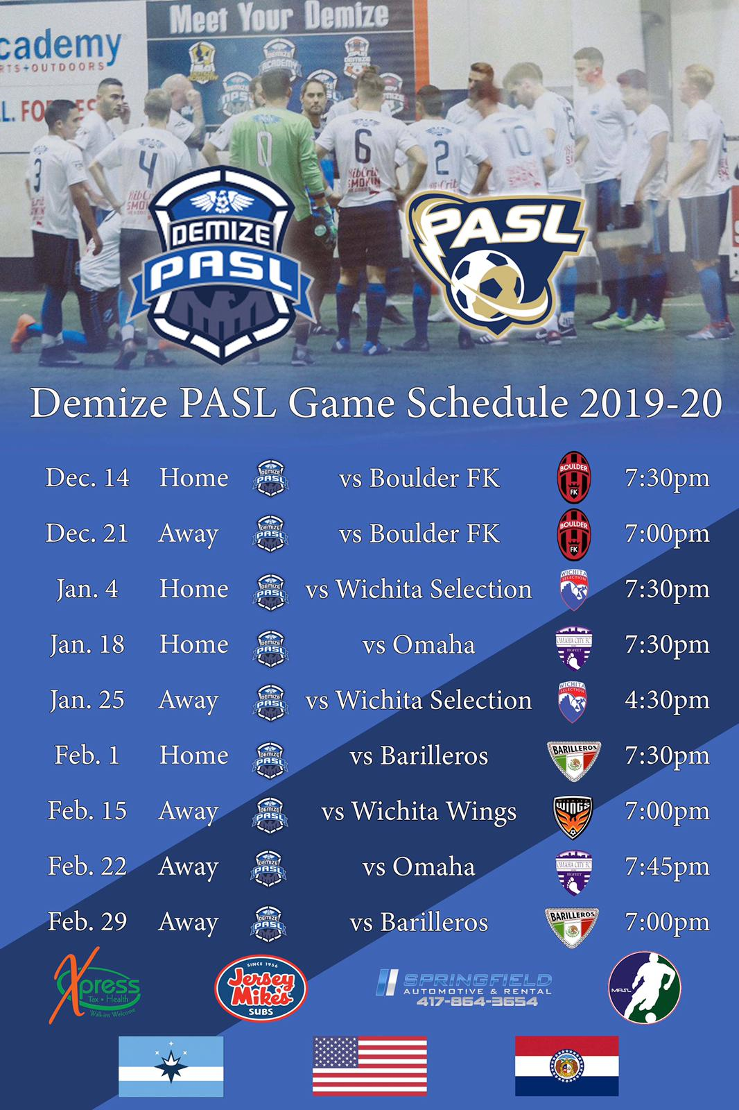 Demize Releases 2019-2020 PASL Schedule