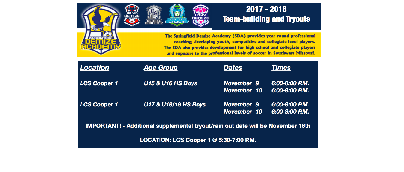 2017-2018 High School Boys Tryout Times & Dates